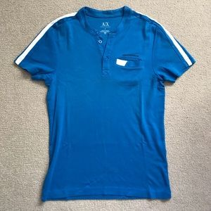 Armani Exchange - Blue T-Shirt with Button